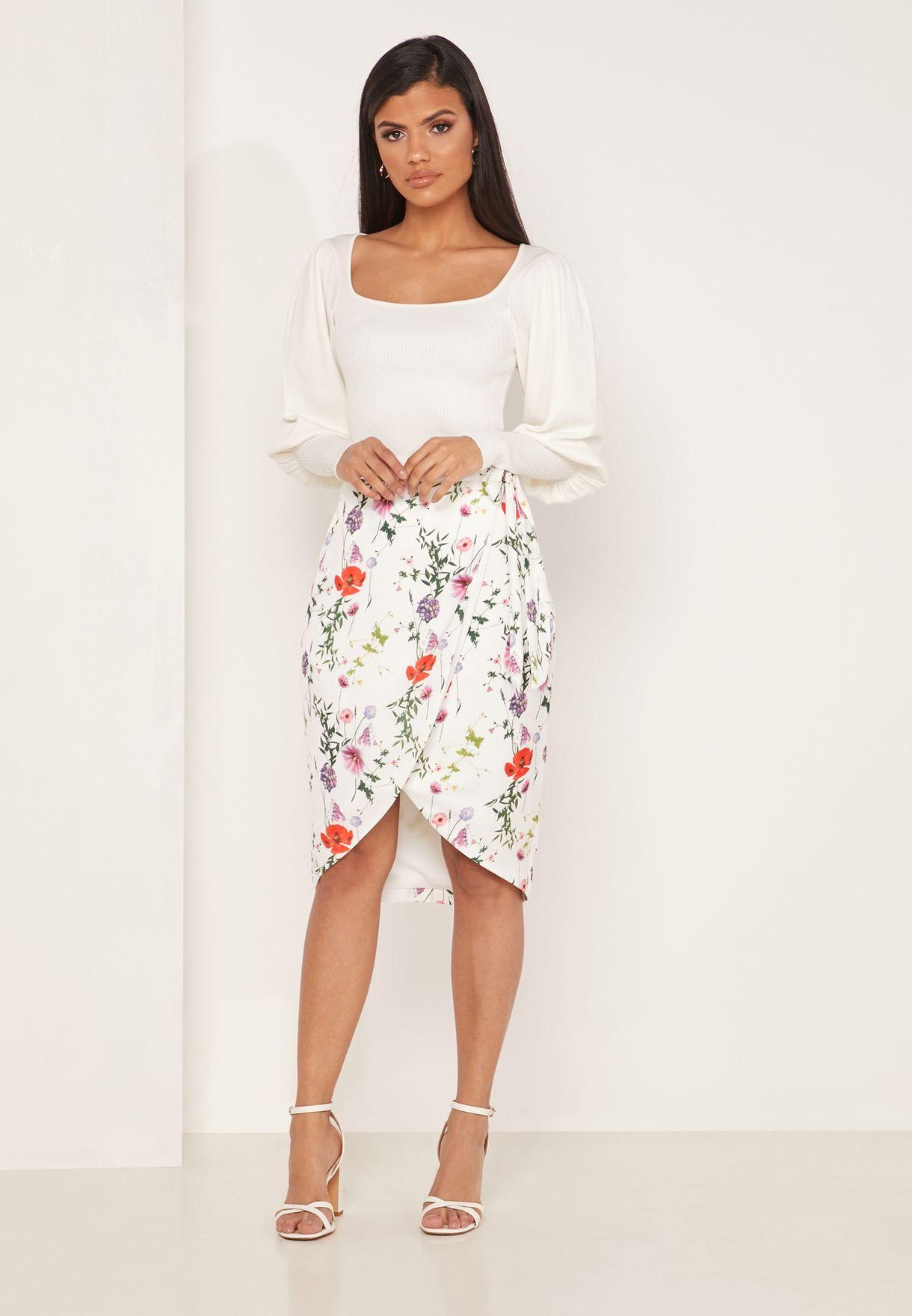 Camiila Floral Print Midi Skirt