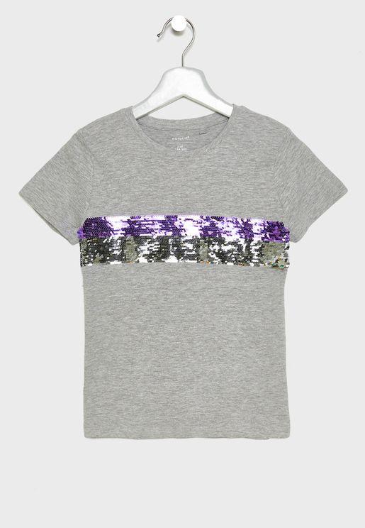 Kids Striped Sequins T-Shirt