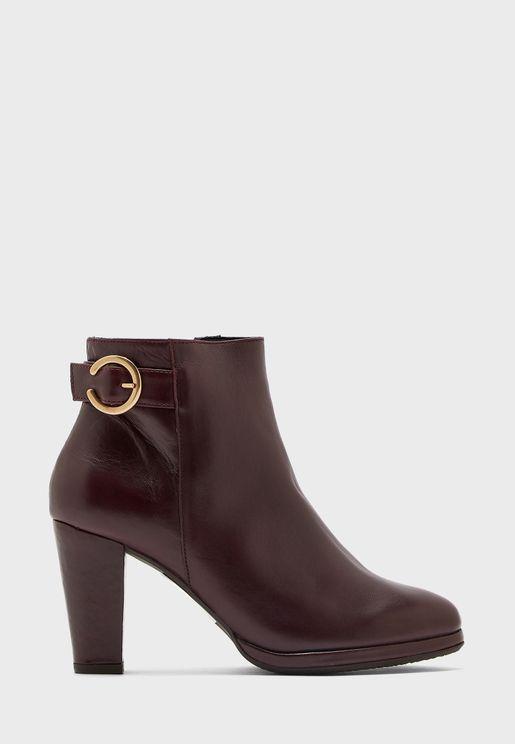 Buckle Detail Mid Heel Boot