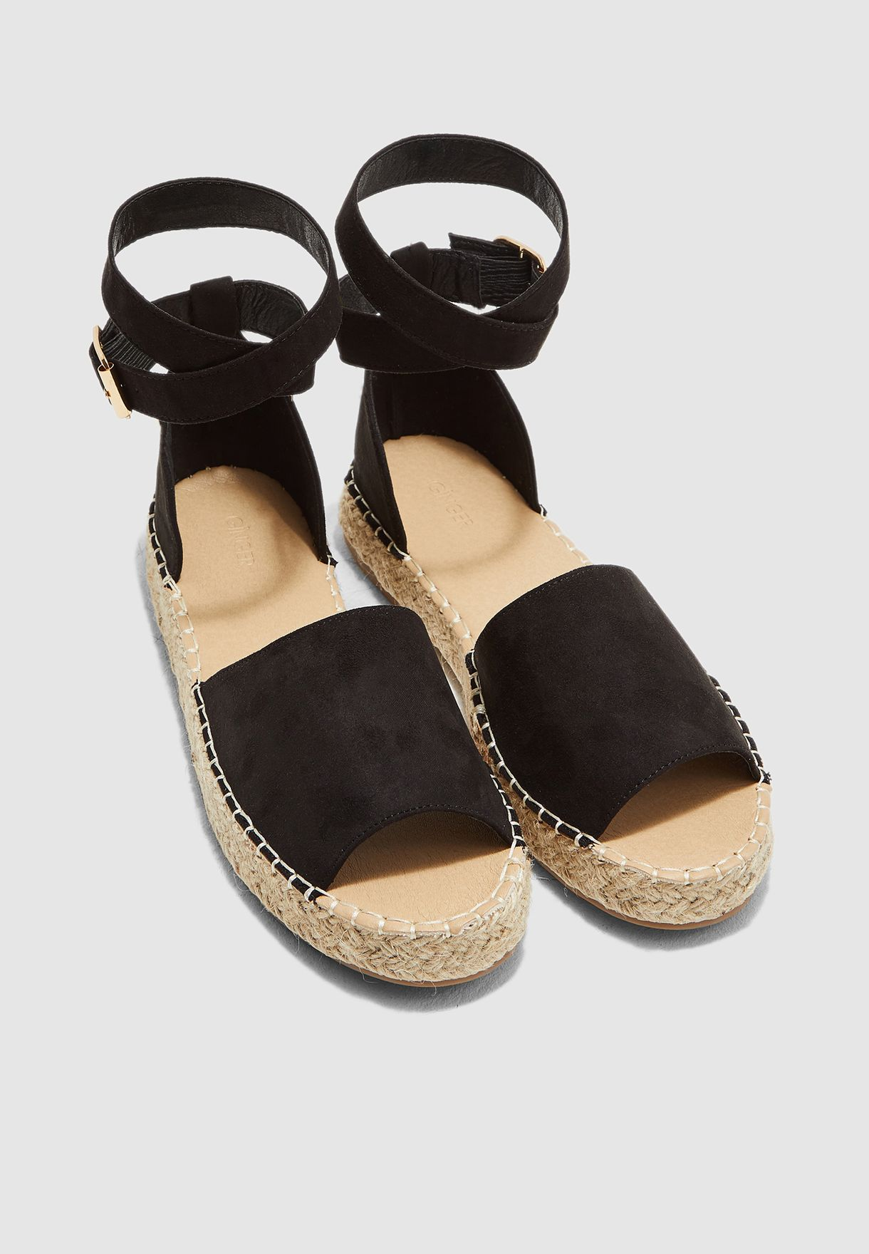Open Toe Espadrille With Ankle Strap