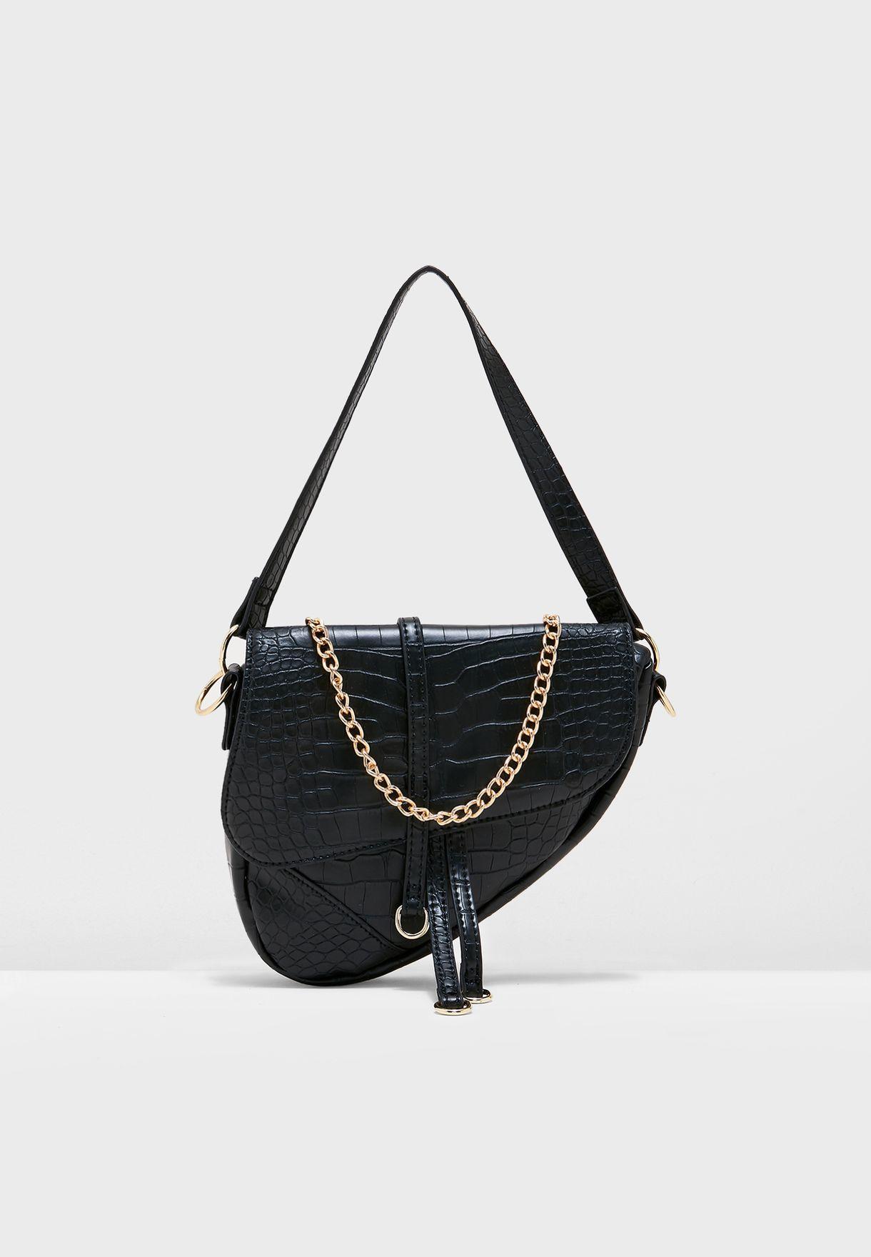 Saddle Bag In Mock Croc