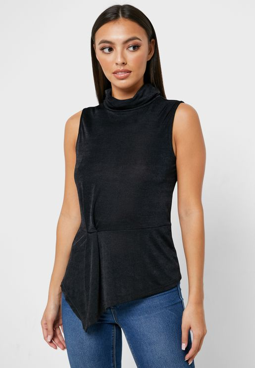 Asymmetric High Neck Top