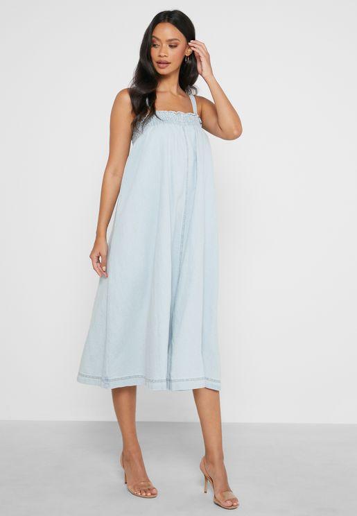 Denim Shirred Strappy Midi Dress