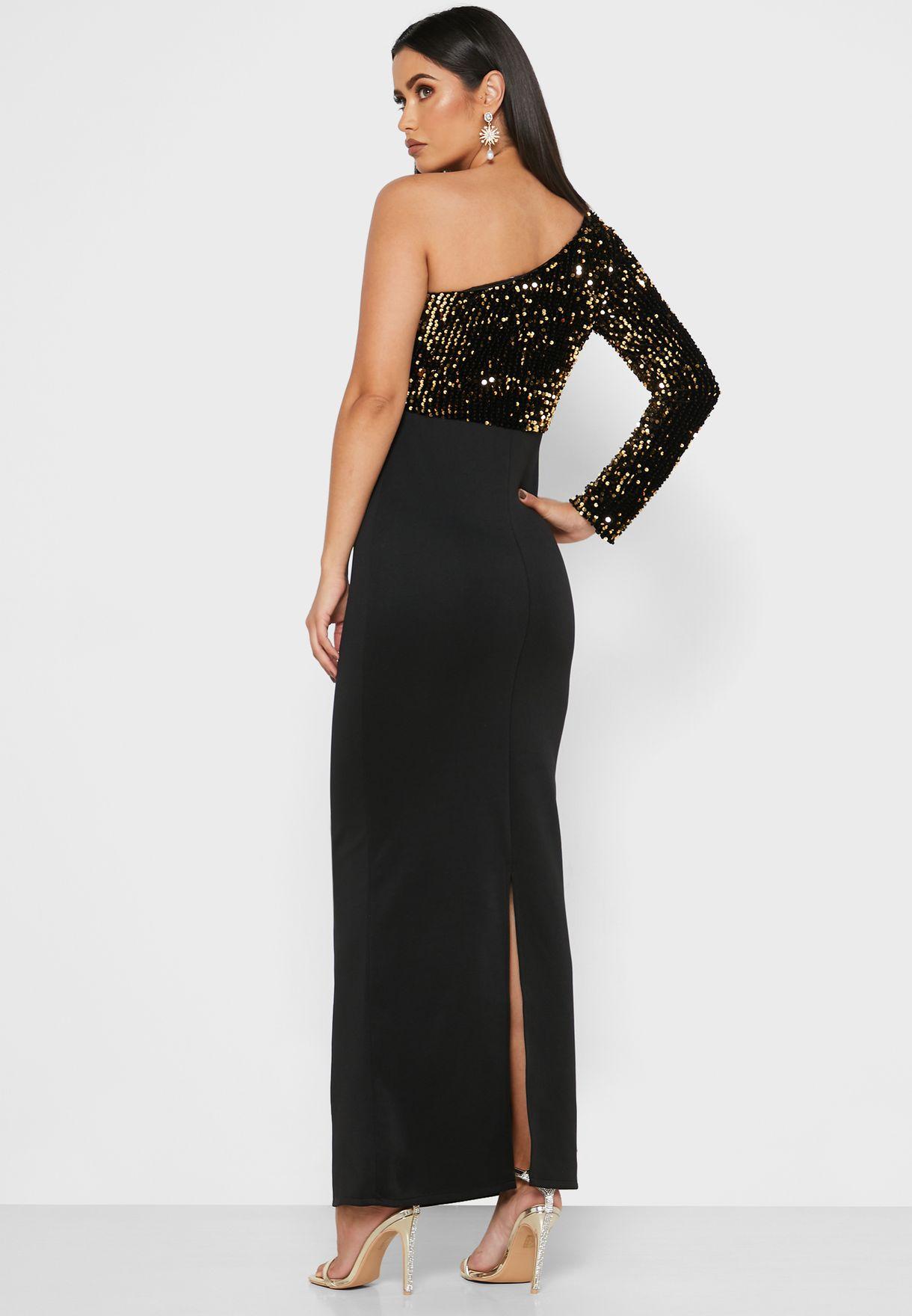 Sequin Top One Shoulder Maxi Dress