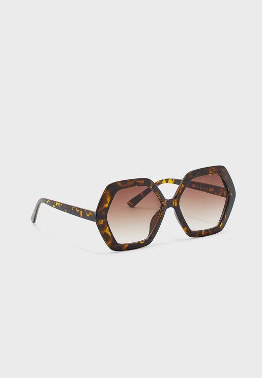 Oversized Hexagon Toitoise Effect Sunglasses