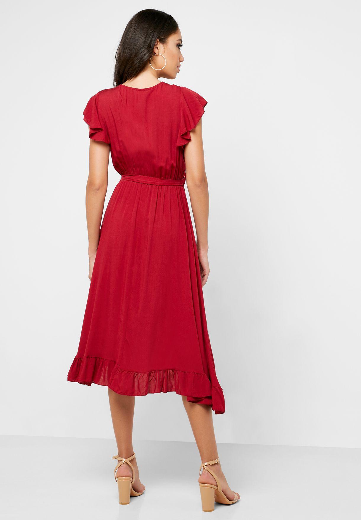 فستان ميدي لف بكشكش