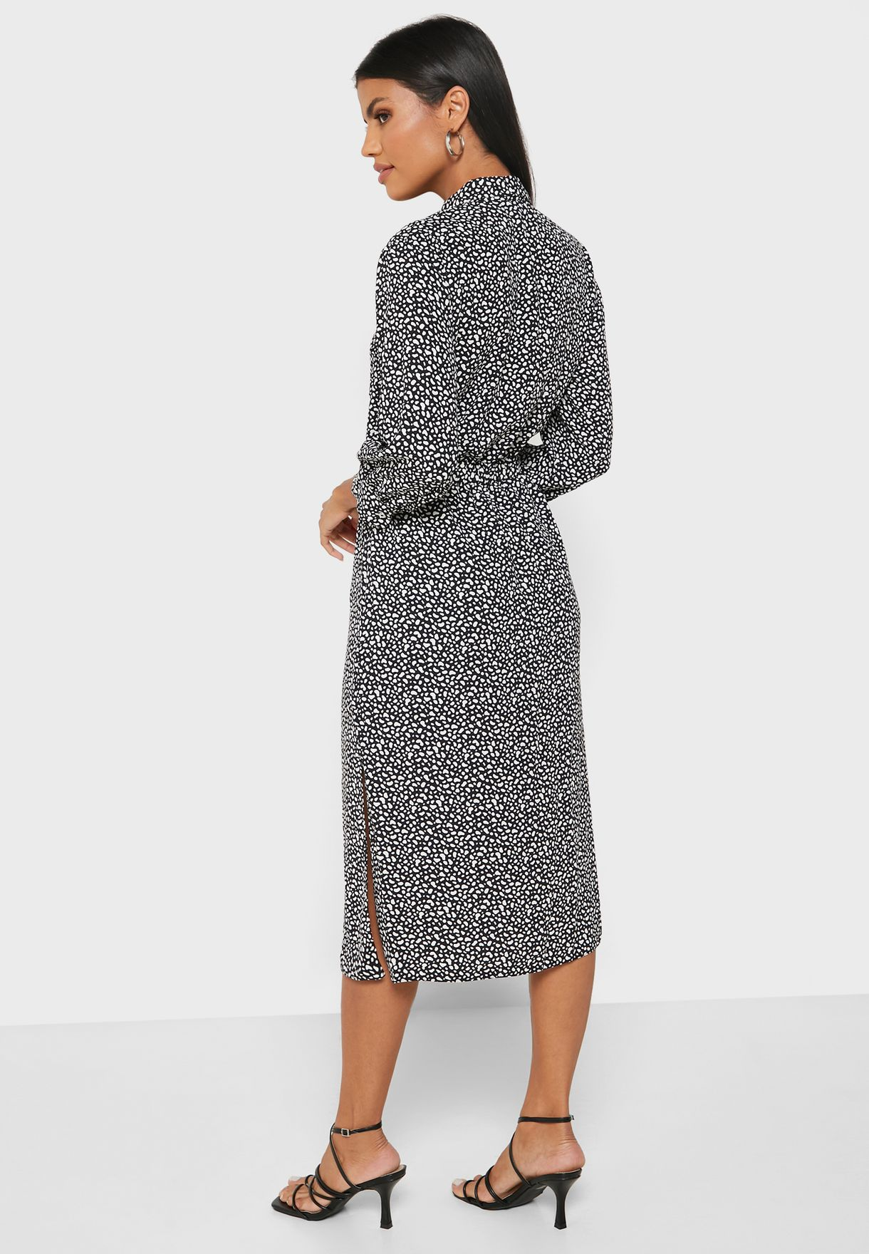 Textured Ruched Detail Dress