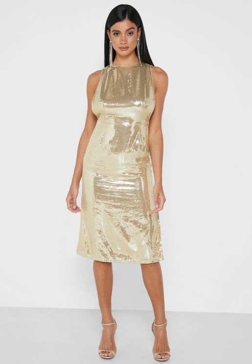 Side Slit Sequin Dress