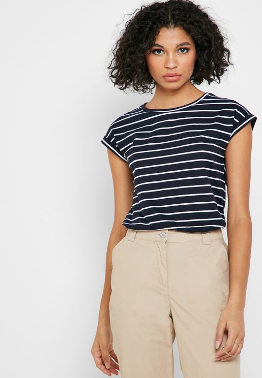 Stripe Cap Sleeve T-Shirt