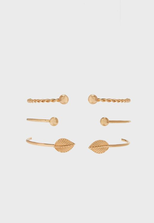 3 Pack Leaf And Twisted Detail Bangle Set
