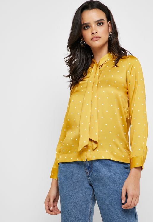 Tie Neck Polka Dot Shirt