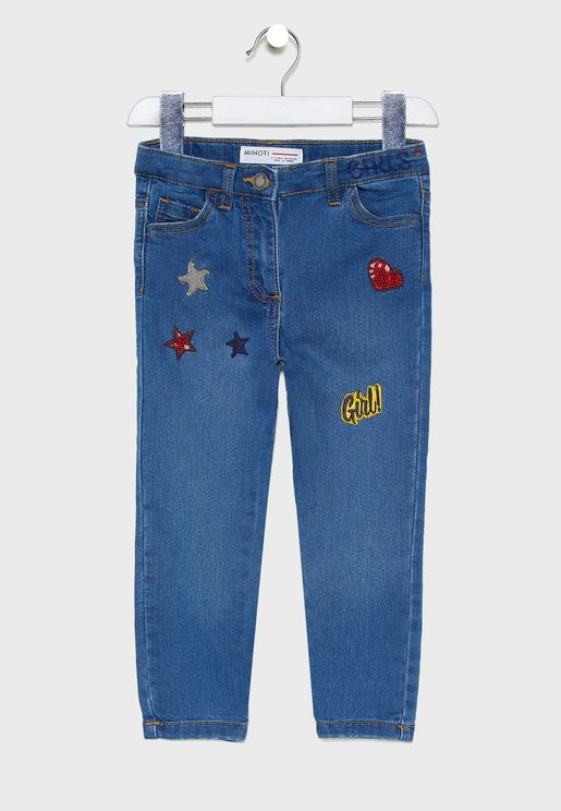 Little Sequin Badges Jeans