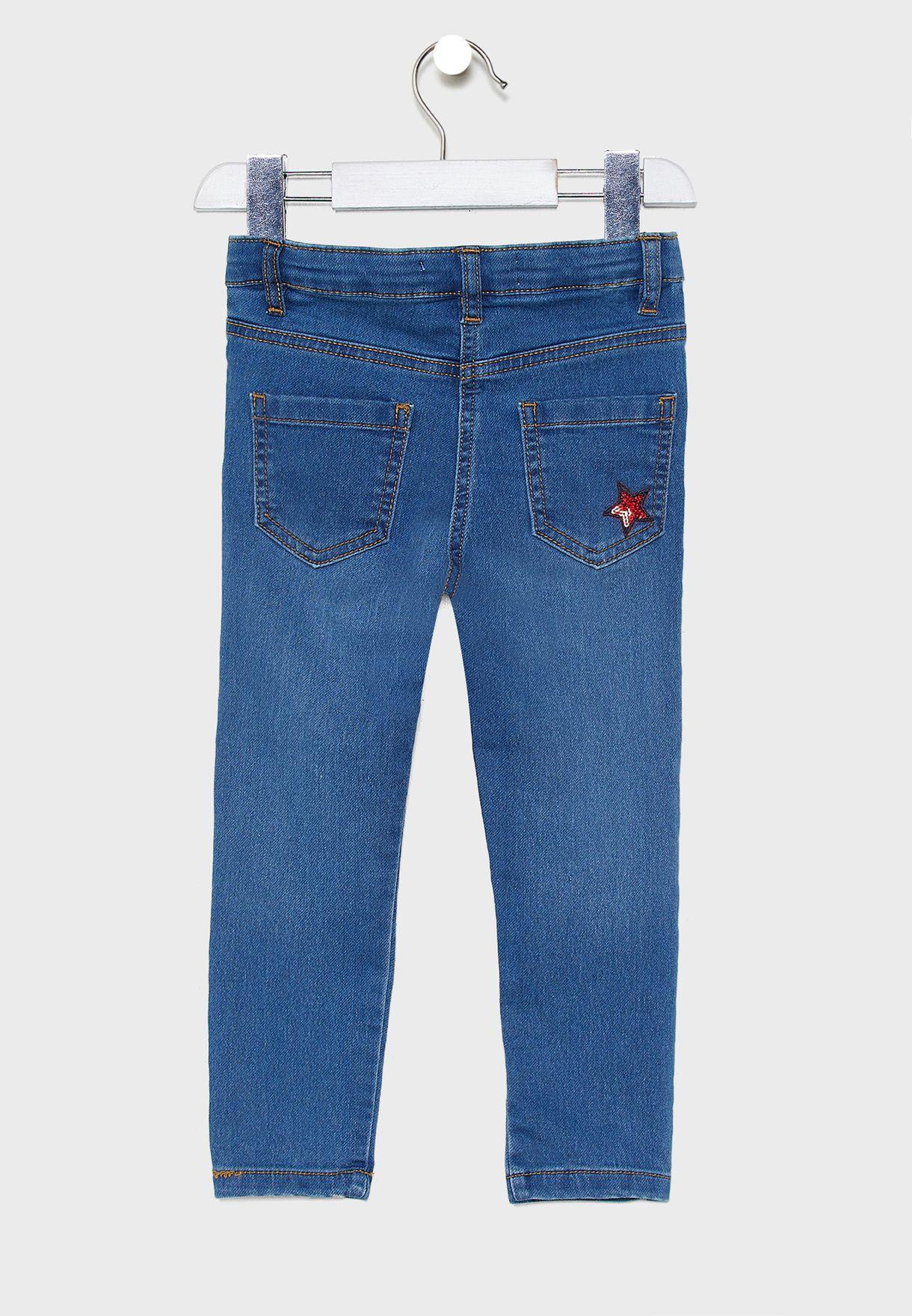 بنطال جينز مزين بالترتر