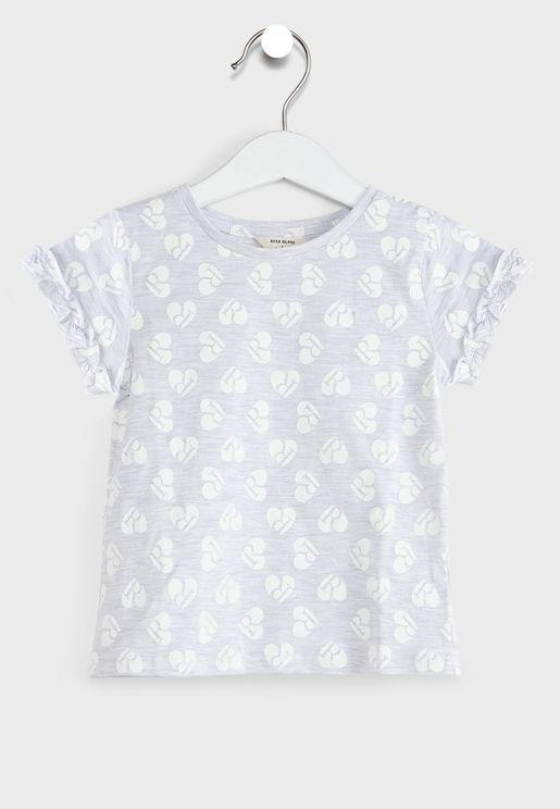 Kids Heart Print Ruffle T-Shirt