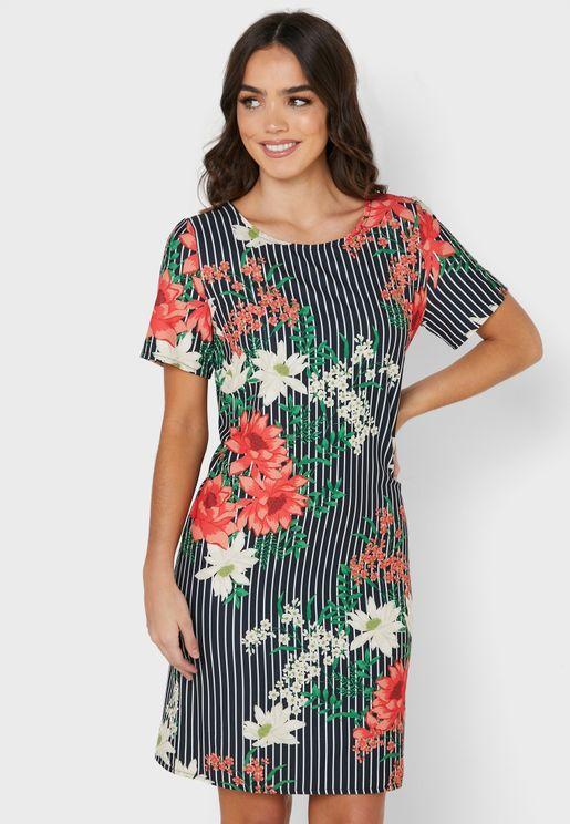 Floral Print Striped Dress