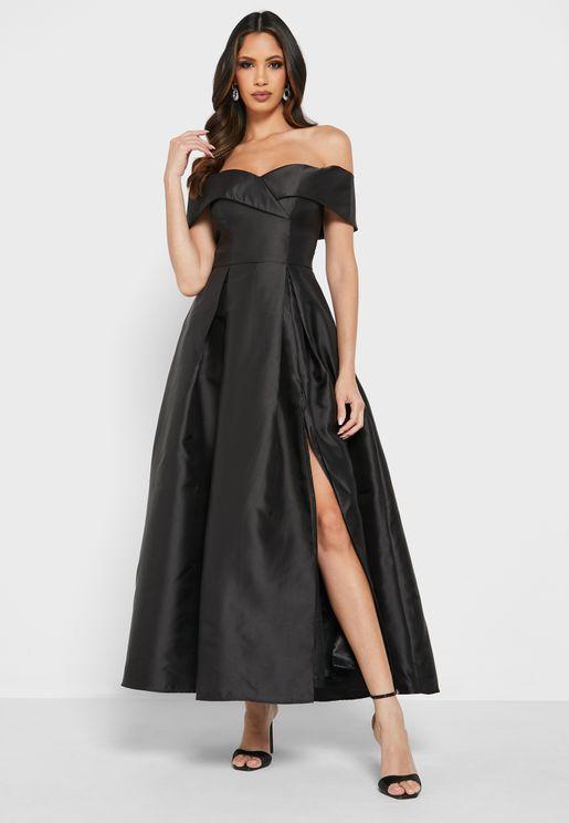 Bardot Pleat Detail Dress