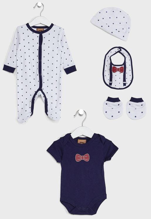 Infant Bowtie Sleepsuit + Body Bib And Set