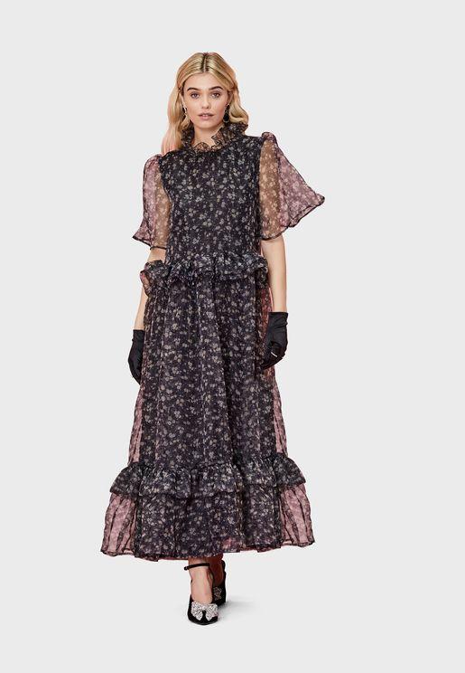 Mesh Sleeve Printed Ruffle Hem Dress
