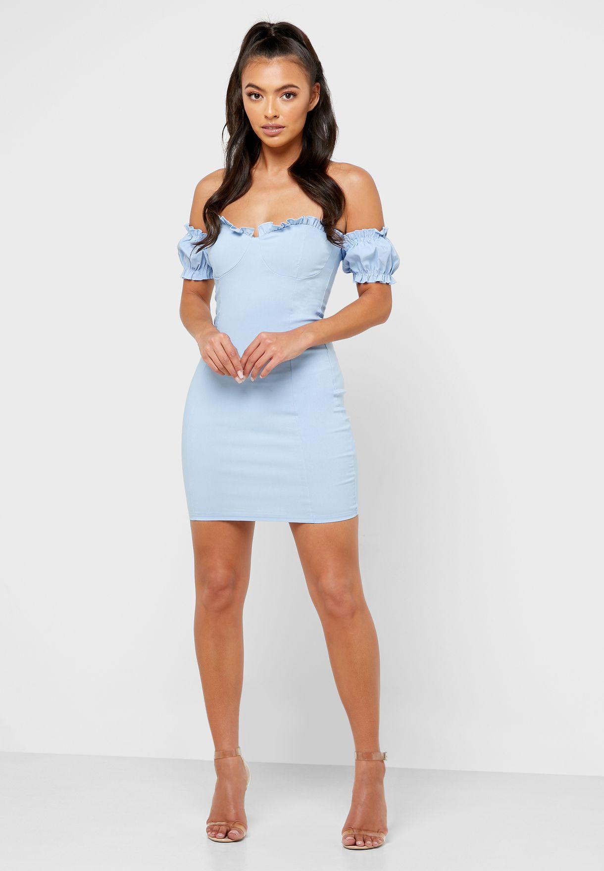 Bardot Ruffle Sleeve Bodycon Dress