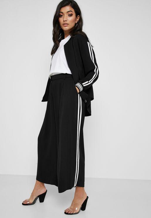 Side Striped Wide Leg Pants