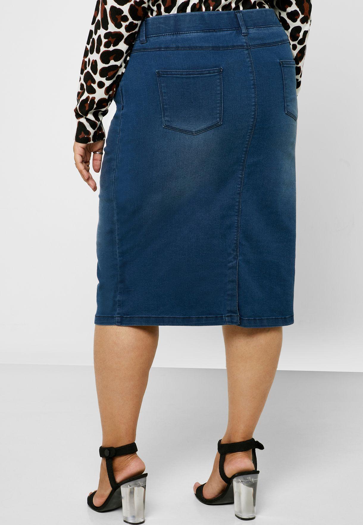 تنورة جينز بخصر مطاطي