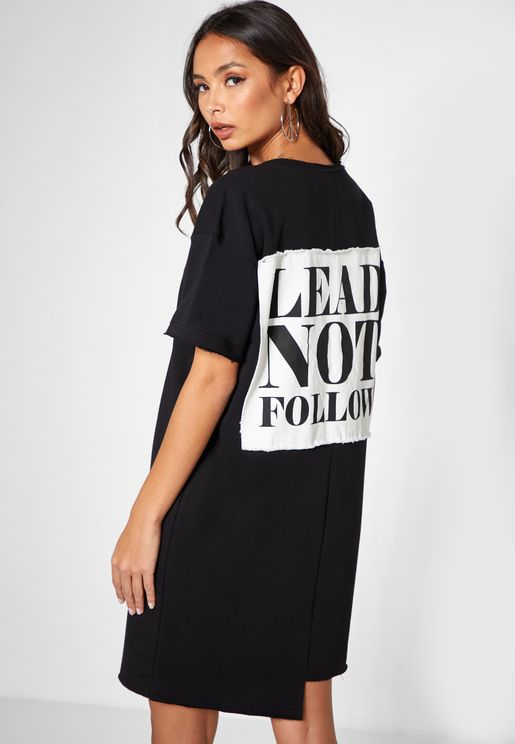 Printed Short Sleeve T-Shirt Dress