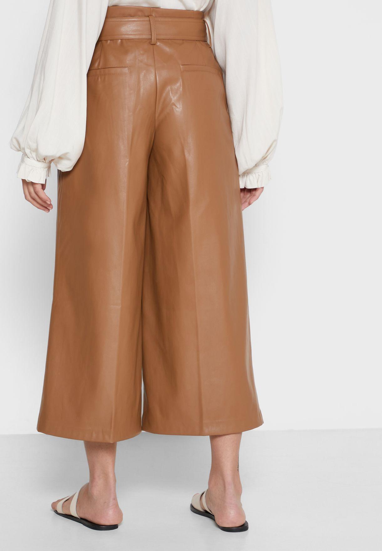 Belted Wide Leg PU Pants