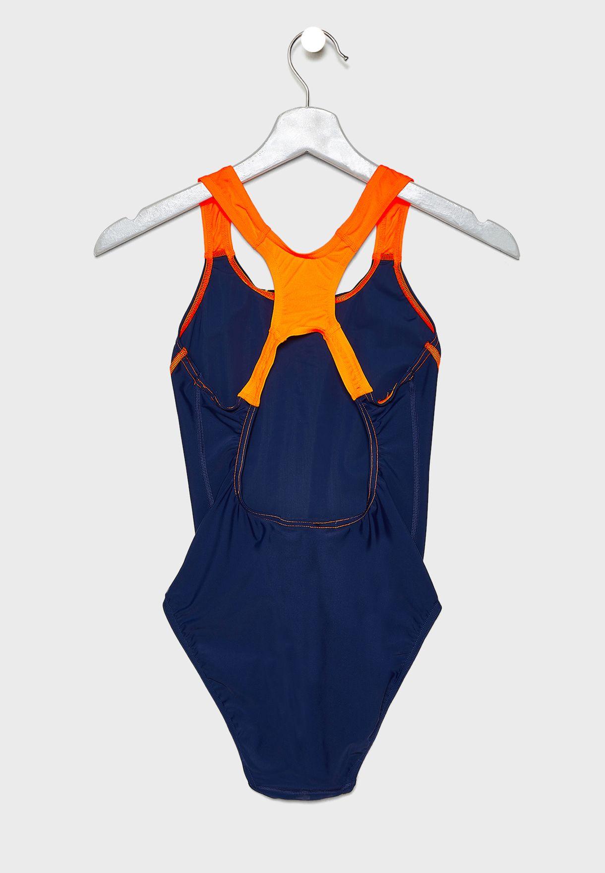c751649c587 Shop Speedo navy Gala Logo Medalist Swimsuit 809689A876 for Women in ...