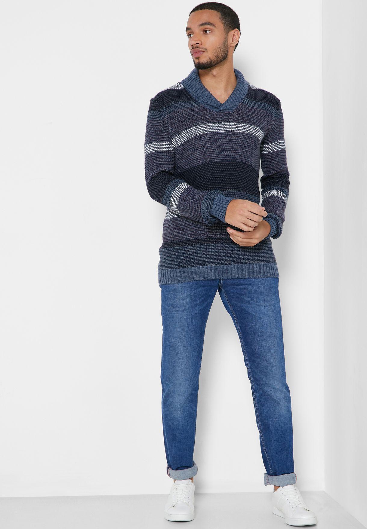 Striped Shawl Neck Sweater