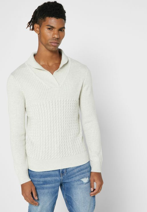 Shawl Neck Cable Knit