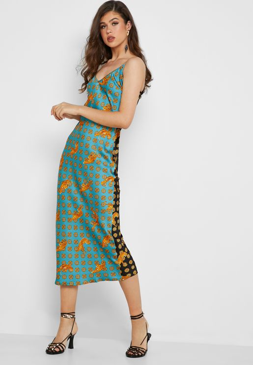 c8b6e5a39c6 Tiger Print Clash Satin Cami Slip Dress