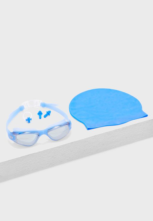 Swimming Goggle + Cap + Ear and Nose Plugs Set