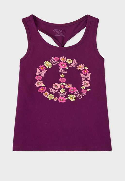 Kids Floral Peace Sign Top