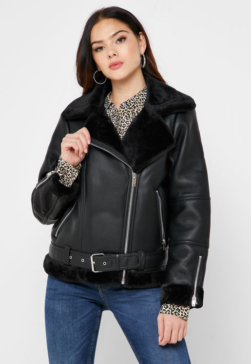 Belted Faux Fur Collar Pu Jacket
