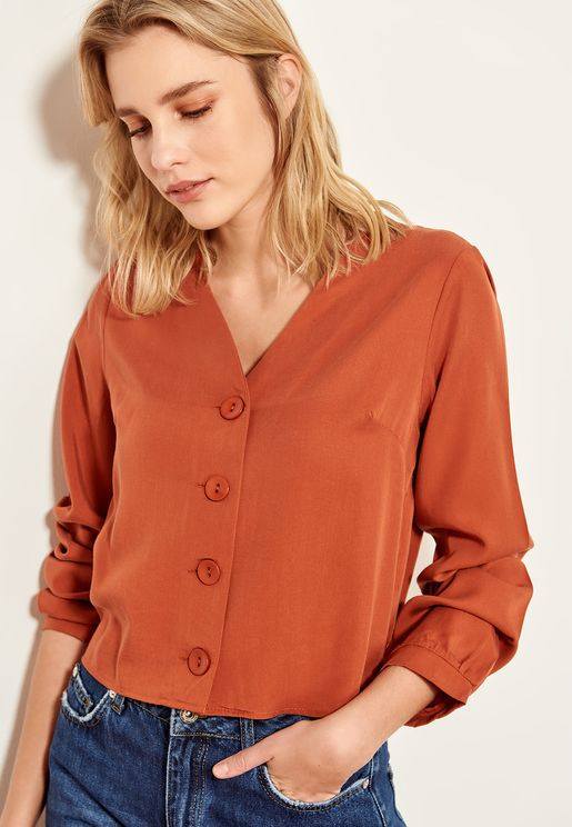 55249c3114c75 Button Detail Long Sleeve Shirt