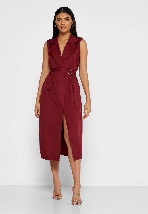 Wrap Front D-Ring Belted Midi Dress