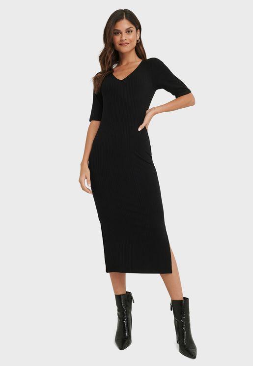 V-Neck Side Slit Dress