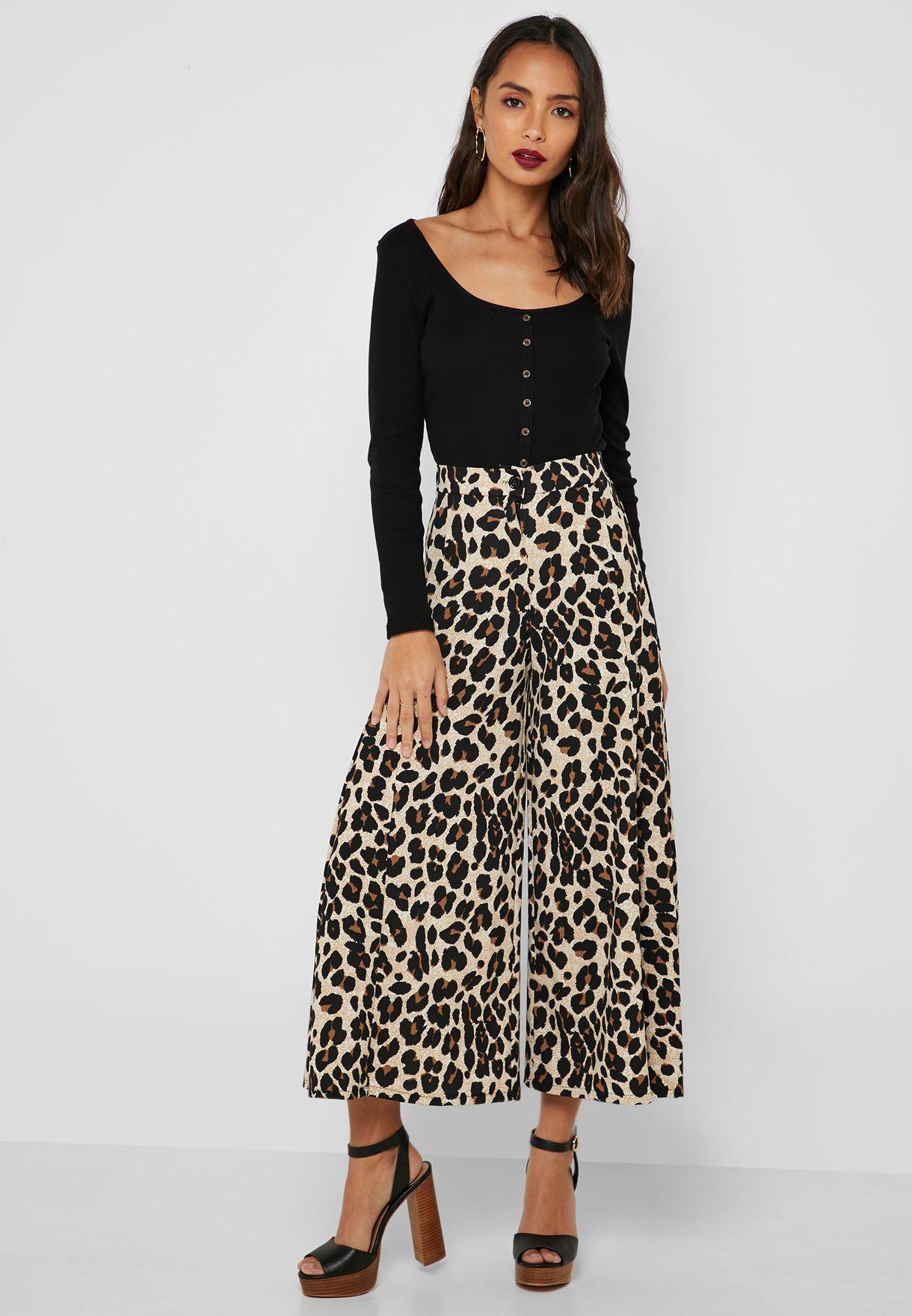 cde0c5aa1435 Shop Ginger prints Leopard Print Wide Leg Pants 8681 for Women in ...