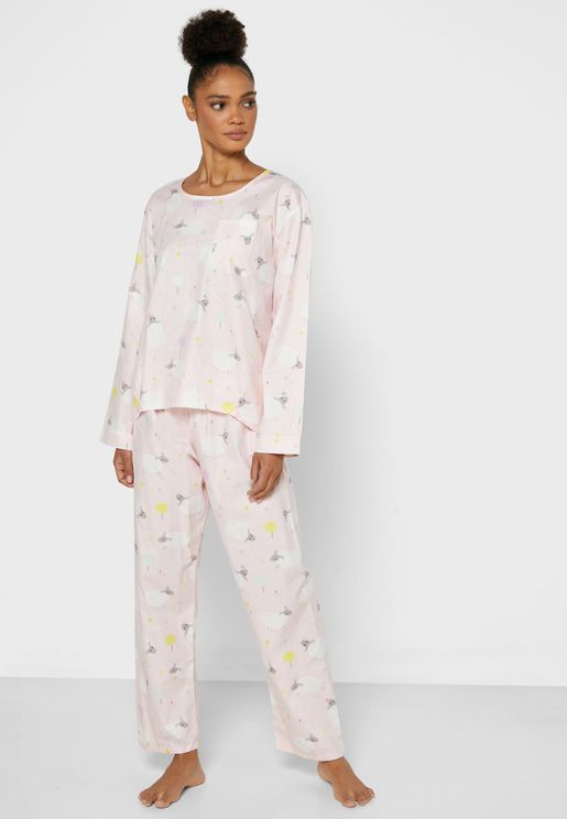 Printed Chest Pocket Pyjama Set