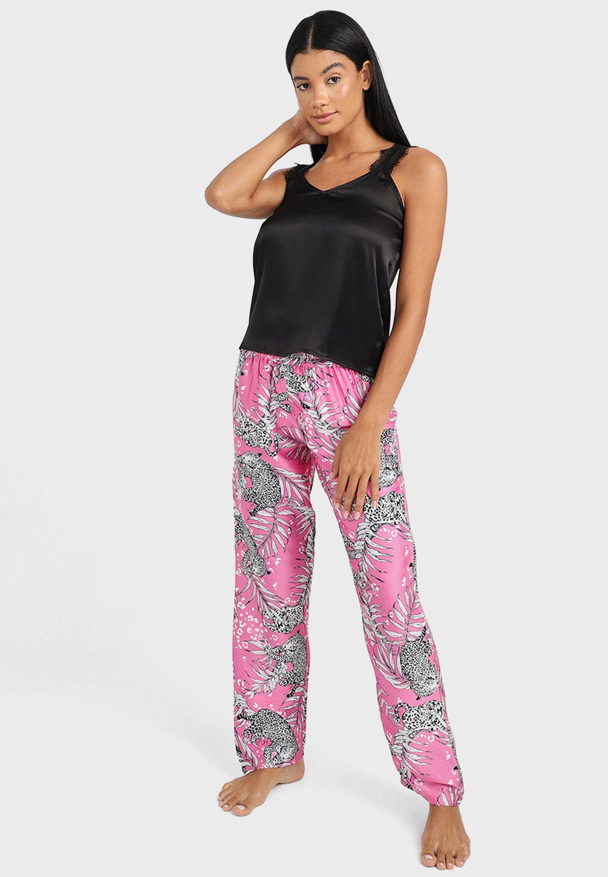 Satin Lace Strap Cami And Jaguar Print Pyjama Set