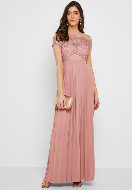 Pleated Bardot Lace Detail Maxi Dress