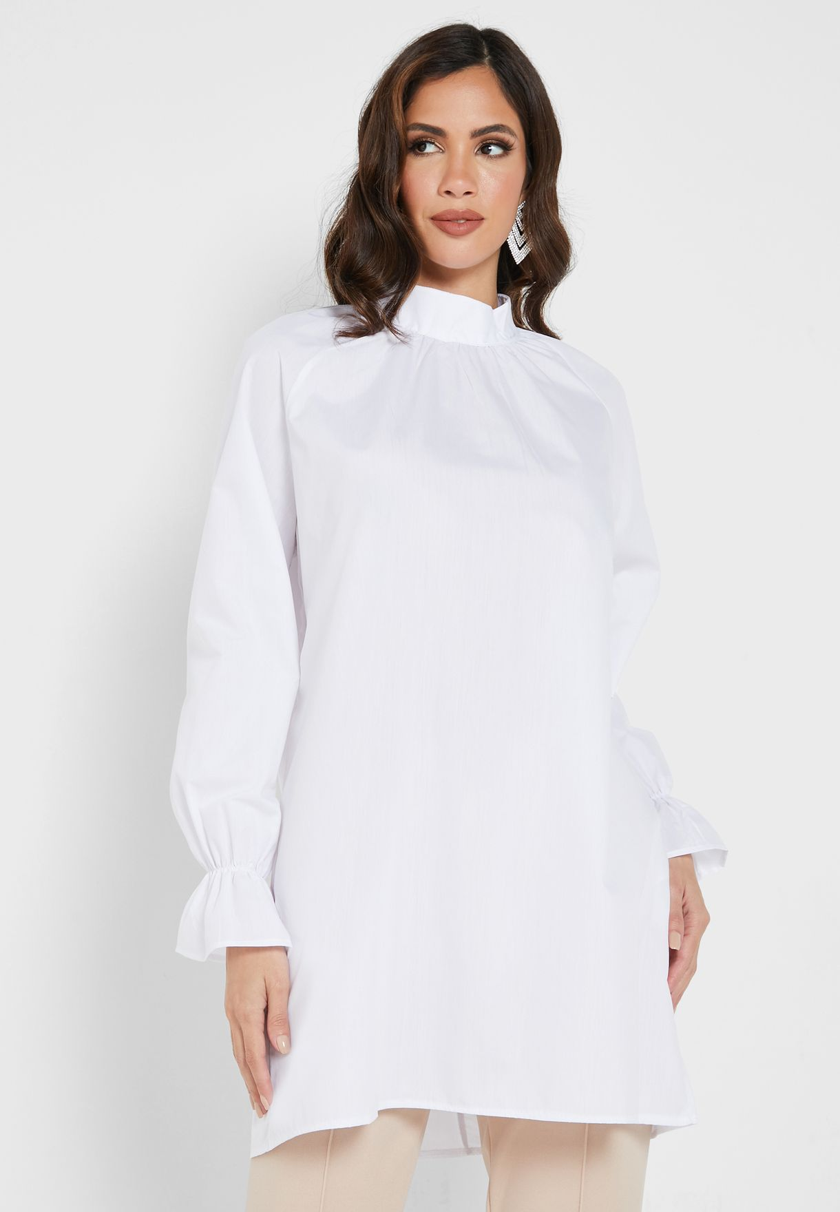 Pleated Turtle Neck Top