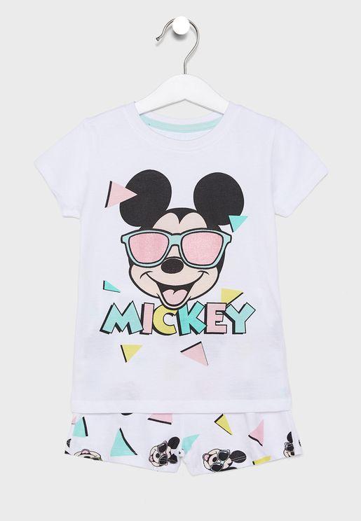 Kids Mickey T-Shirt + Short Pyjama Set
