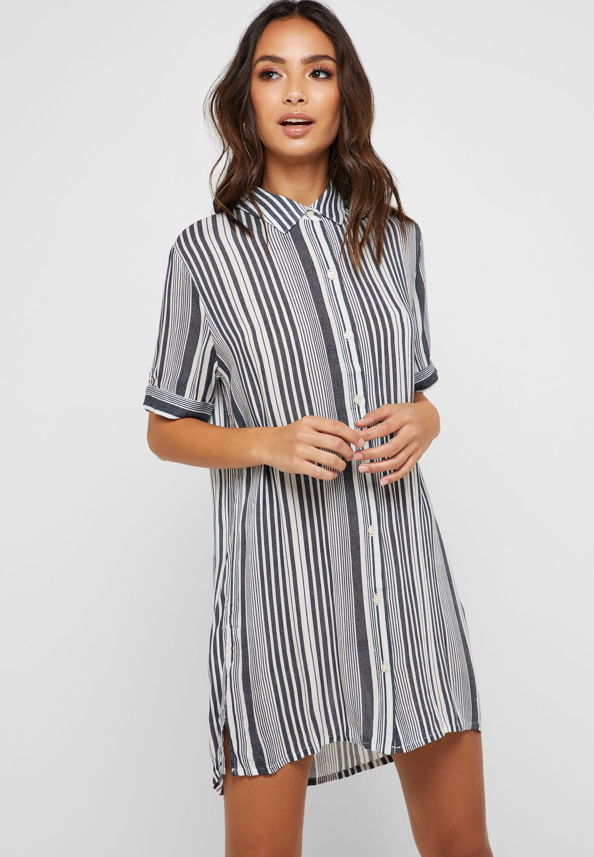 eb4224851797 Shop Forever 21 prints Striped Shirt Dress 305943 for Women in Qatar ...