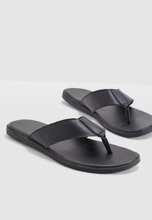 1059c1bee55cea Faux Leather Casual Flip Flops