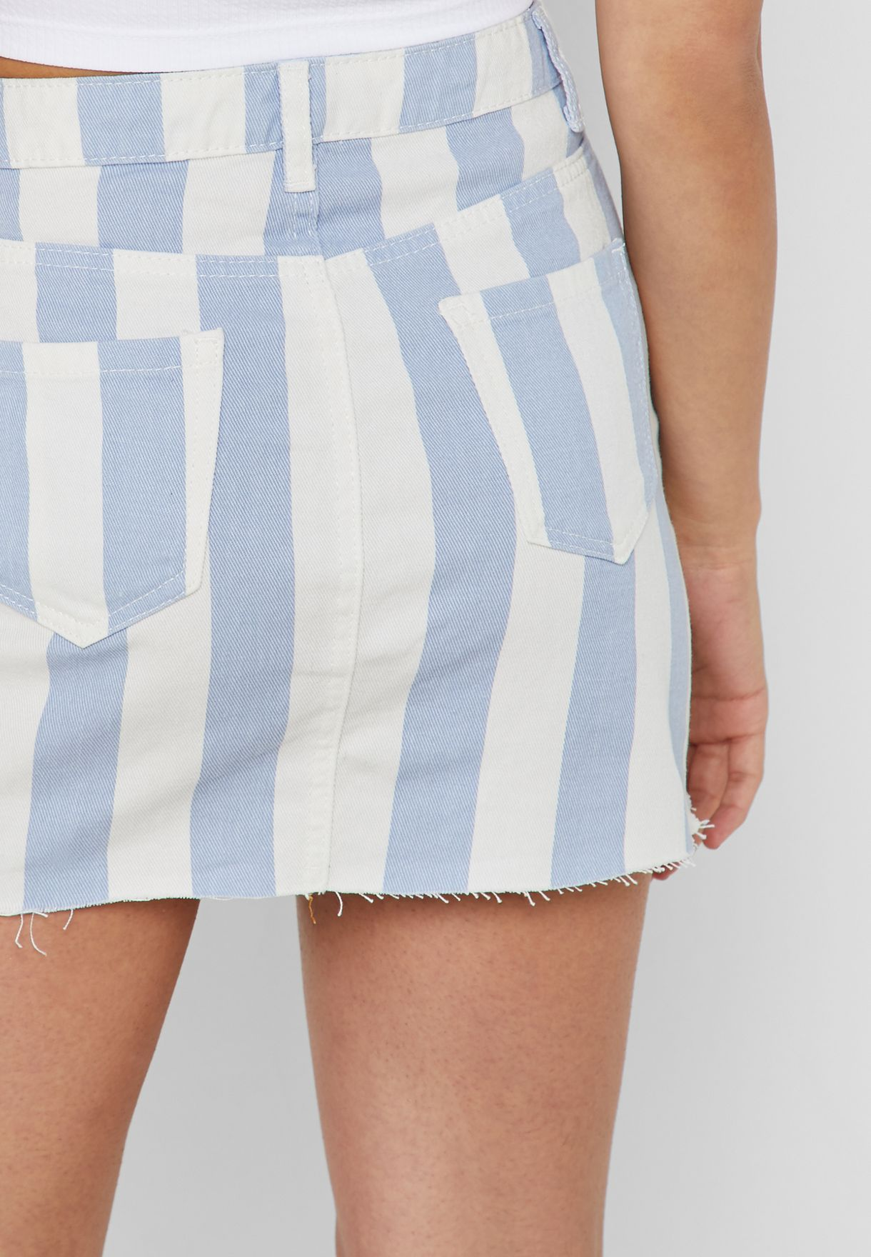 Striped Denim Skirt