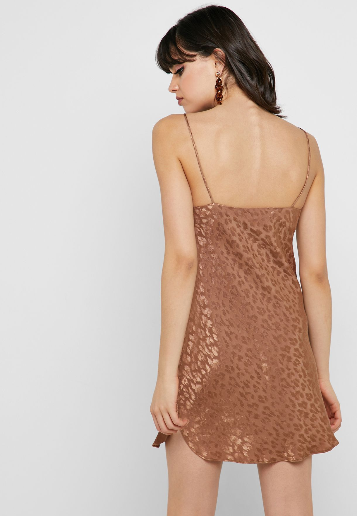 196a67feed253 Shop Topshop brown Jacquard Slip Dress 10W16QBRZ for Women in Kuwait ...
