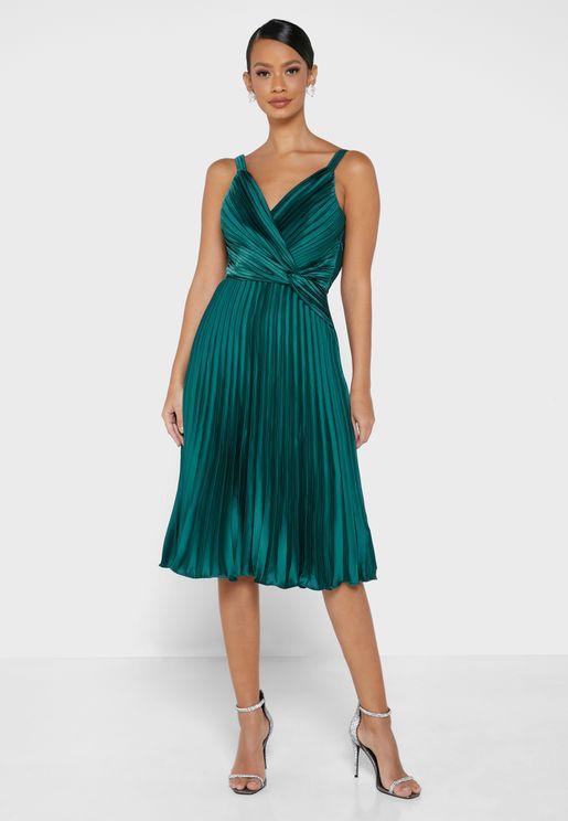 Surplice Plisse Dress