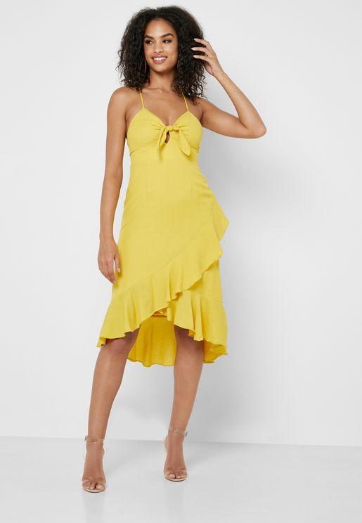 65598b599 Asymmetric Ruffle Front Knot Dress. Forever 21. Asymmetric Ruffle Front  Knot Dress