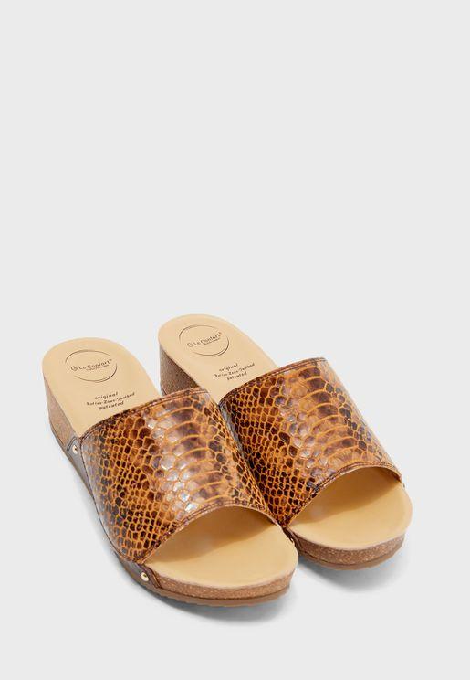Mesh Strap Wedge Sandal